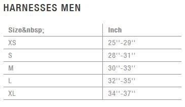 ion harness size chart