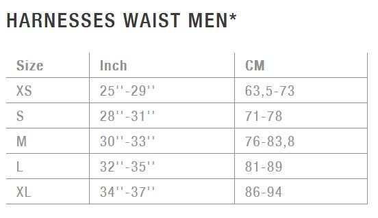 Men's harness waist size
