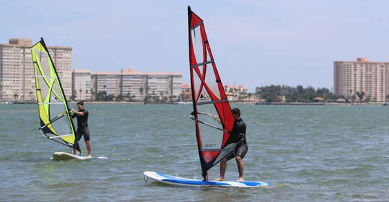 beginner windsurfing lesson
