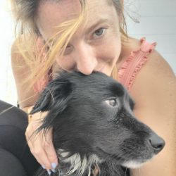 woman and dog windsurfing