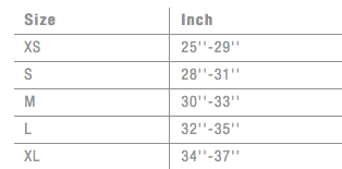 Men's Ion Harness Size Chart