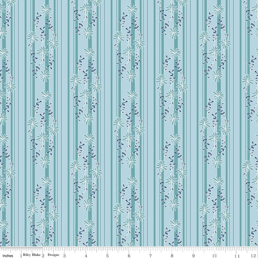 7.5m Daisy Days - C6284 Blue Stripe
