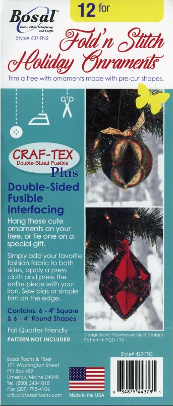 Craf-Tex Plus Double-sided Fusible Interfacing Fold'n Stitch Holiday Ornament