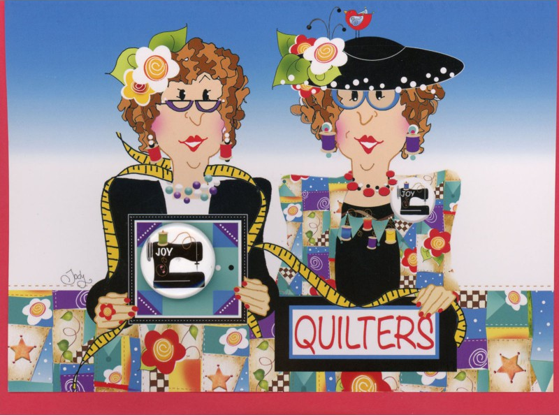 Quilters Greeting Card with Pin