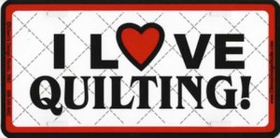 I Love Quilting Liscense plate
