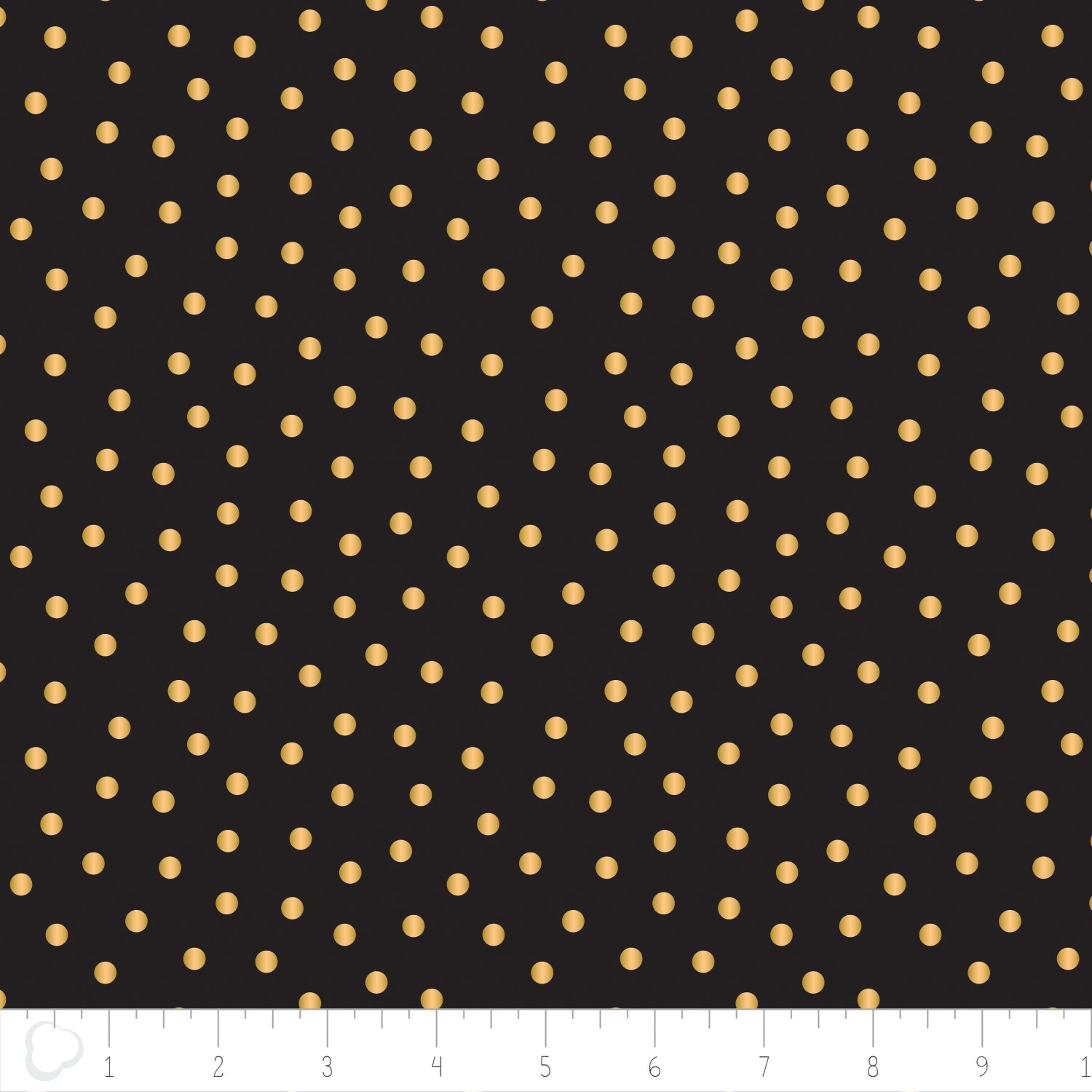Camelot fabrics- Mixology Luxe-  Dotted in Black with Gold Metallic