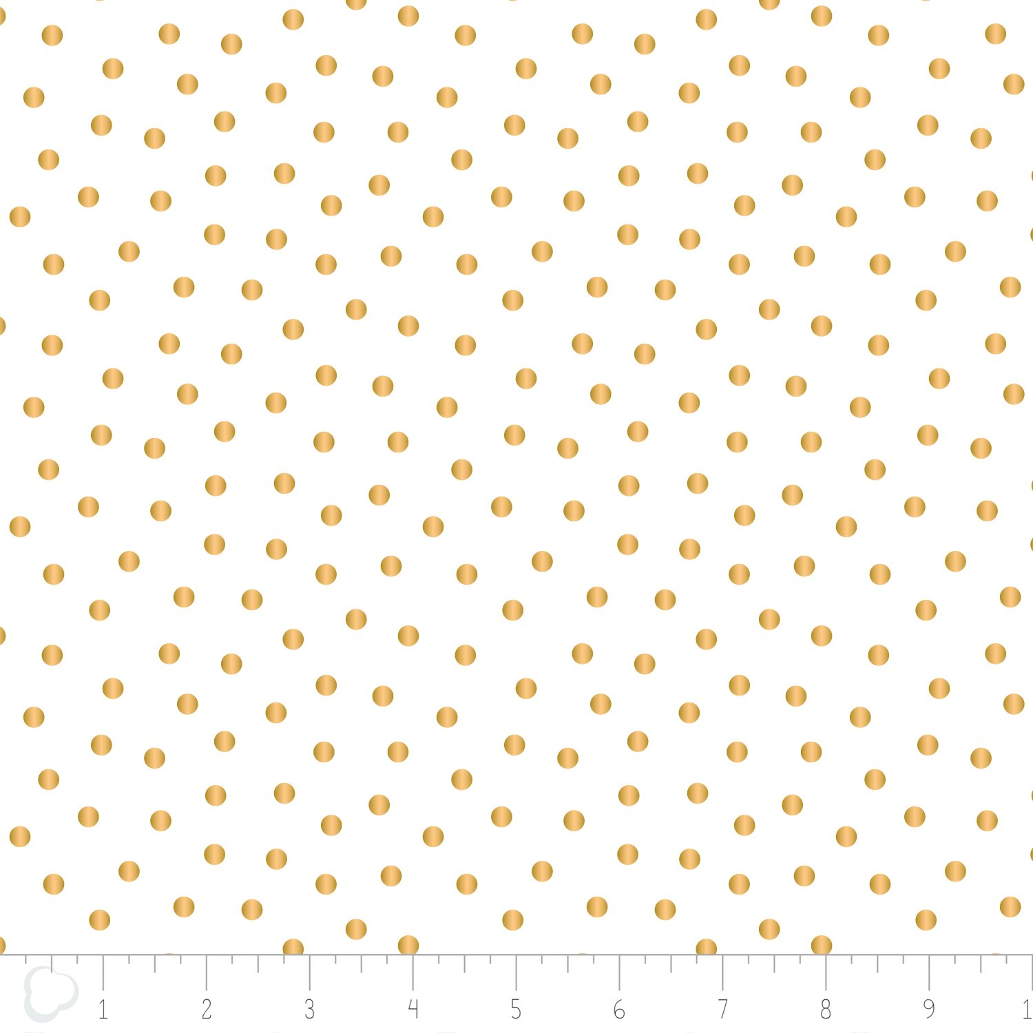 Camelot fabrics- Mixology Luxe- Dotted in White with Gold Metallic