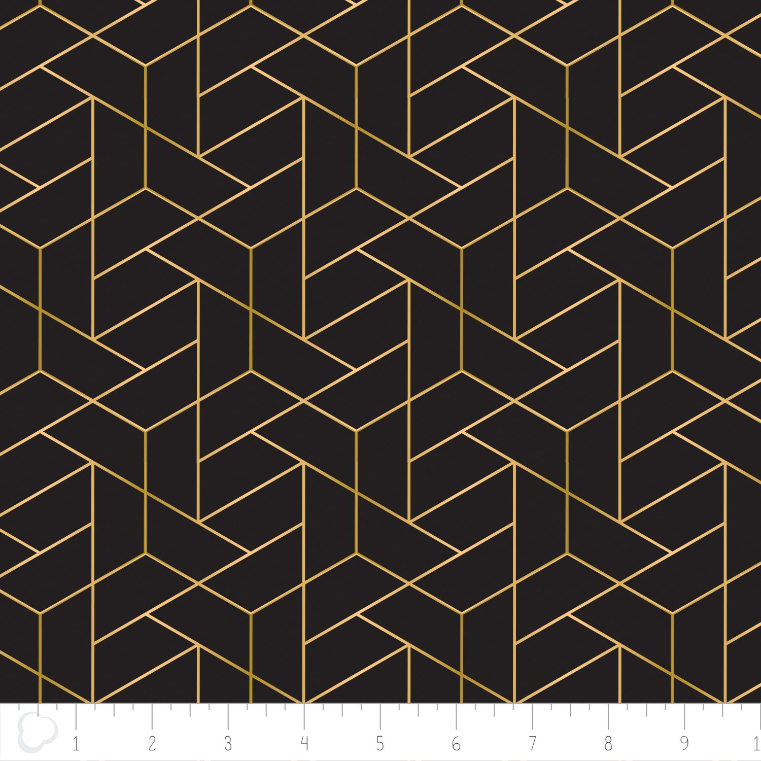 Camelot fabrics-Mixology luxe- Tiled in Black with Gold Metallic