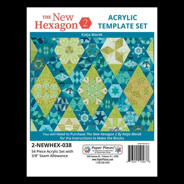 The New Hexagon 2 Acrylic Template Set 3/8 Seam