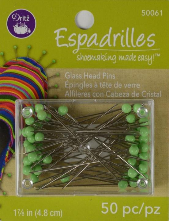 Dritz Espadrille Glass Head Pins 50 ct