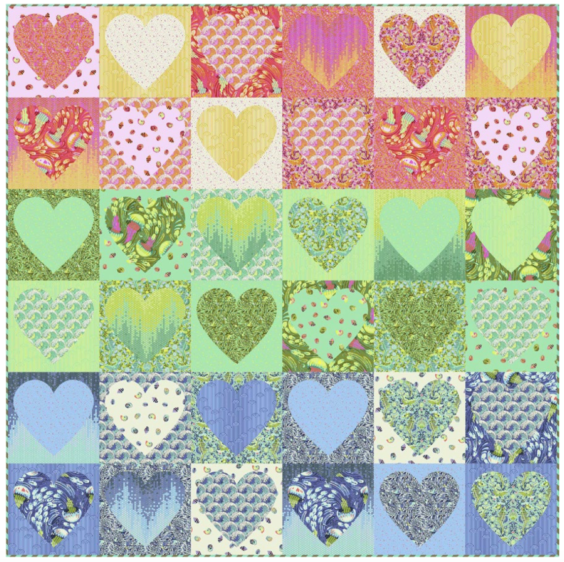Faded Hearts Quilt Kit in Zuma