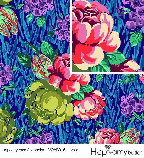 Amy Butler-Hapi-Tapestry Rose-Sapphire
