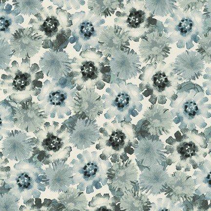 Robert Kaufman - Wishwell - Natural Blooms - Graphite