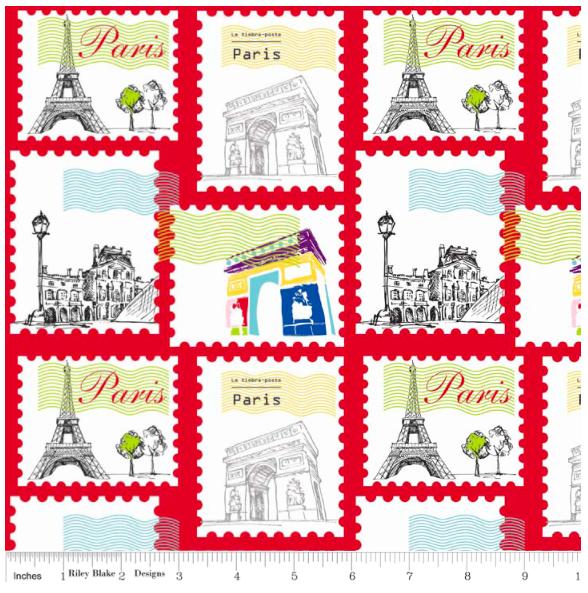 Riley Blake Designs- Paris Stamp- Red