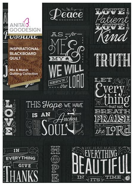 Anita Goodesign- Mix & Match Quilting Collection- Inspirational Blackboard Quilt
