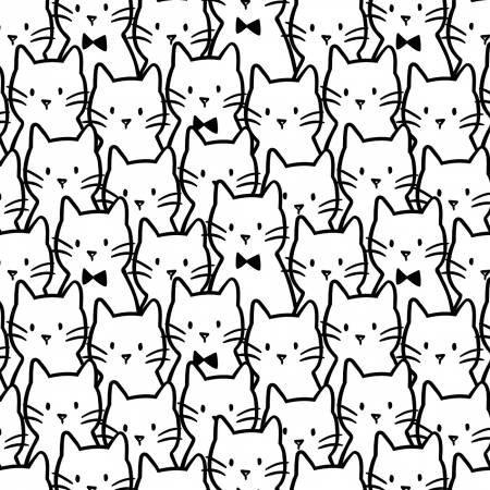 Camelot Fabrics- Anne Sullivan- Meow- Cat Cluster