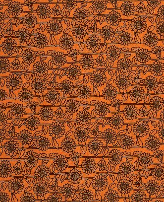 0007 Fabric Freedom Orange Sunflower Directional   *25% Savings*  (One Yard Minimum Cut)