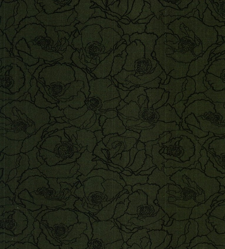 0015 Fabric Freedom Poppies  Hunter Green   *15% Savings*  (One Yard Minimum Cut)