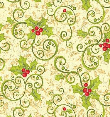 0847M-11 Benartex Mistletoe Holly on Cream with Silver Metallic Specks by J.Z.W.   *28% Savings*  (One Yard Minimum Cut)