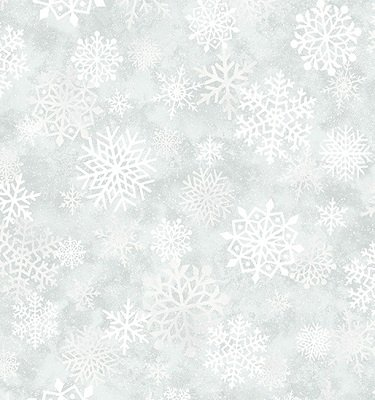 0849M-11 Benartex Mistletoe Snow Flake Silver with Silver Metallic Specks by J.Z.W.   *28% Savings*  (One Yard Minimum Cut)