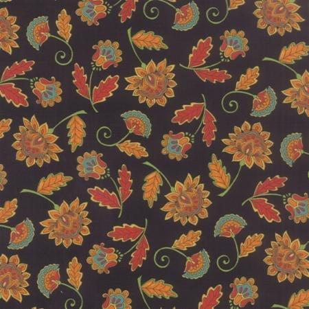 19711-12 Moda Forest Fancy folk art flowers on black