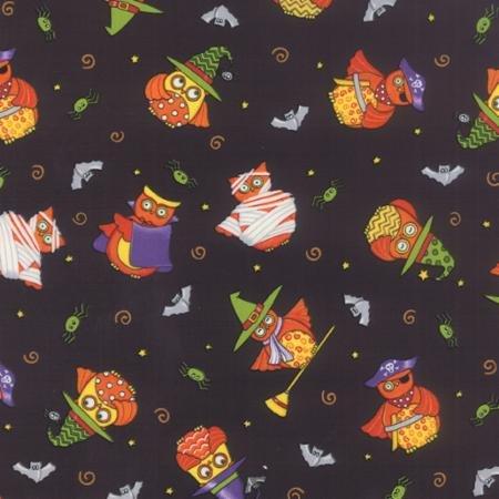 19721-12  Moda Midnight Masquerade owls on Black