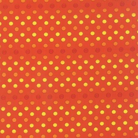 19726-12 Moda Midnight Masquerade Orange Polka Dots