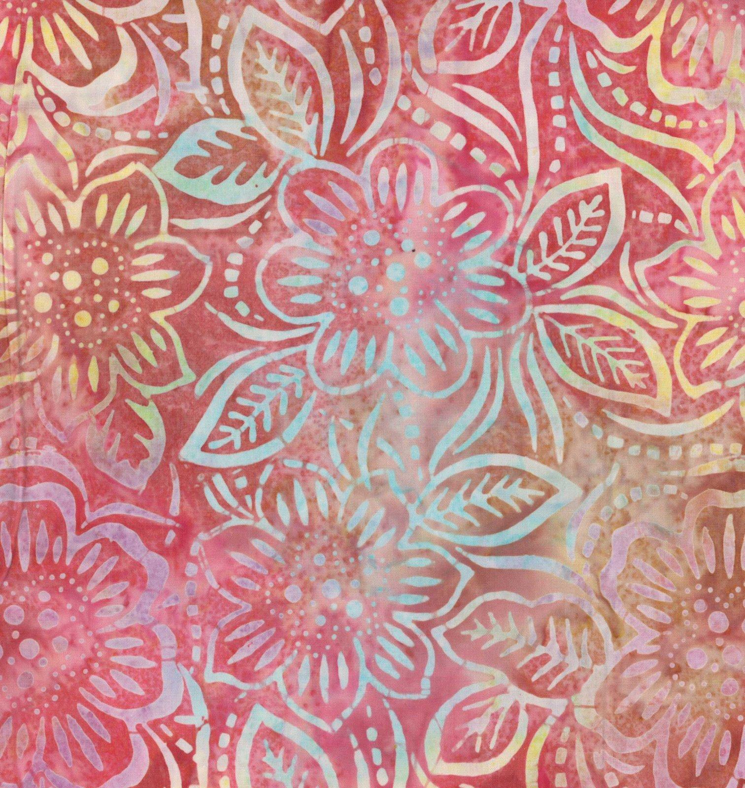 22134-358 Batavian Batiks by Wilmington Prints Dancing Flowers Pink/Orange   *50% Savings* (ONE YARD MINIMUM CUT)
