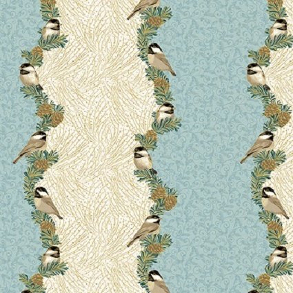5070M-05 My Little Chickadee by Jackie Robinson of Animas Quilts by Benartex-Split Stripe Light Blue