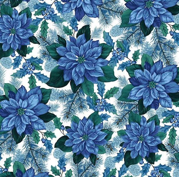8318-04 Henry Glass & Co. Something Blue Poinsettia White
