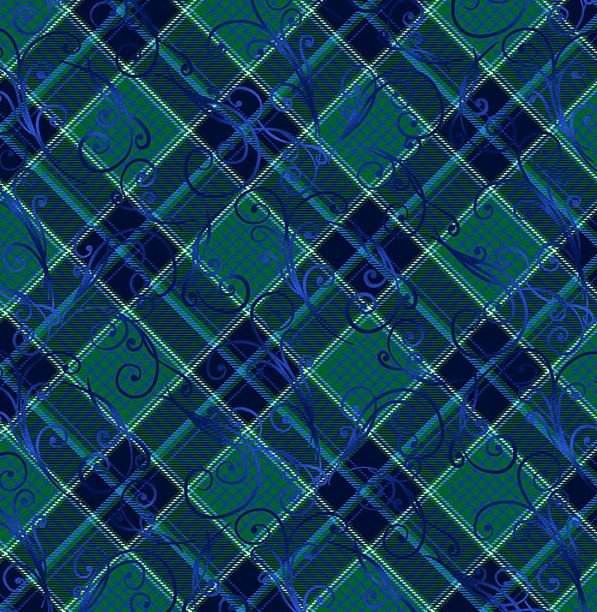 8325-77 Henry Glass Something Blue Blue Green Plaid