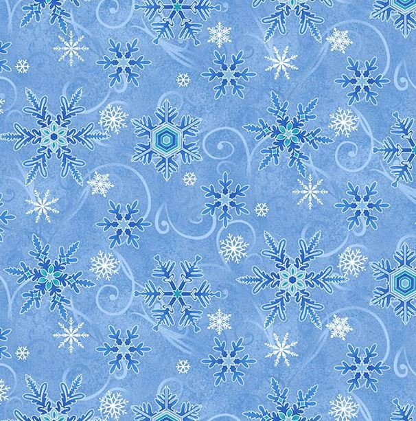 8327-11 Henry Glass Something Blue Snowflake Light Blue