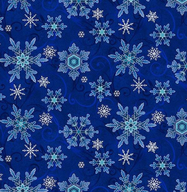 8327-77 Henry Glass Something Blue Snowflake Blue