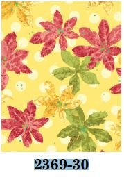 02369-30 Benartex Poinsettias Golden   *25% Savings*  (One Yard Minimum Cut)