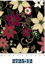 02725-12 Benartex Poinsettia Spectacular Black   *15% Savings*  (One Yard Minimum Cut)