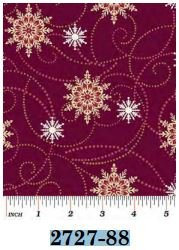 02727-88 Benartex Flakes and Flurries Burgandy   *25% Savings*  (One Yard Minimum Cut)