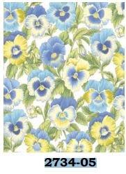 02734-05 Benartex Floribunda by Dove Hill Small Pansy White/ Periwinkle   *10% Savings*   (One Yard Minimum Cut)