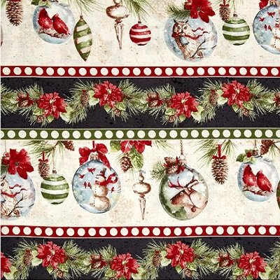 Q1409-86391-219 Woodland Holiday Border Stripe by Lisa Audit for Wilmington Prints