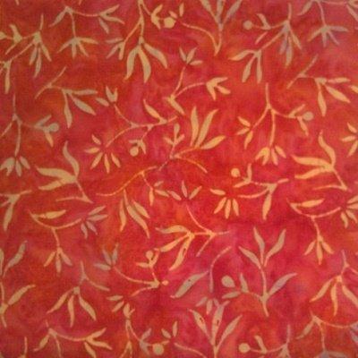 CD-2  Princess Mirah Bali Fabrics Love Orange  *50% Savings* (ONE YARD MINIMUM CUT)