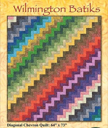 Diagonal Chevron by Wilmington Batiks Easy-to-piece chevron throw quilt uses 26 colors of your favorite Batiks for a colorful addition to many decors. 64 x 73 Finished