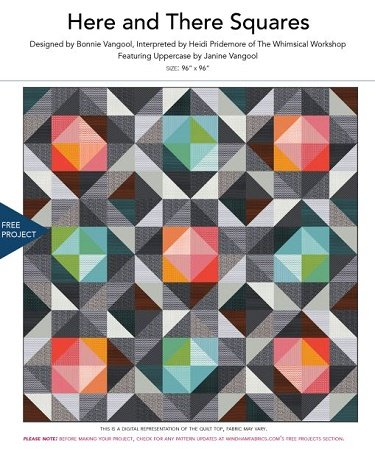 Here & There Squares By Bonnie Vangool Interpreted by Heidi Pridemore of The Wimsical Workshop Reaturing Uppercase by Janine Vangool  Size: 96 x 96