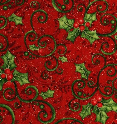 0847M-10 Benartex Mistletoe Holly on Red with Gold Metallic Specks by J.Z.W.    *28% Savings*  (One Yard Minimum Cut)