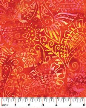 03695-33 Benartex Island Jewels Balis Batiks Island Paisley Tangerine  *50% Savings*  (ONE YARD MINIMUM CUT)