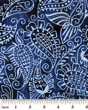 03695-55 Benartex Island Jewels Balis Batiks Island Paisley Navy  *50% Savings*  (ONE YARD MINIMUM CUT)