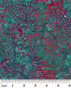 03695-88 Benartex Island Jewels Balis Batiks Island Paisley Teal *50% Savings*  (ONE YARD MINIMUM CUT)
