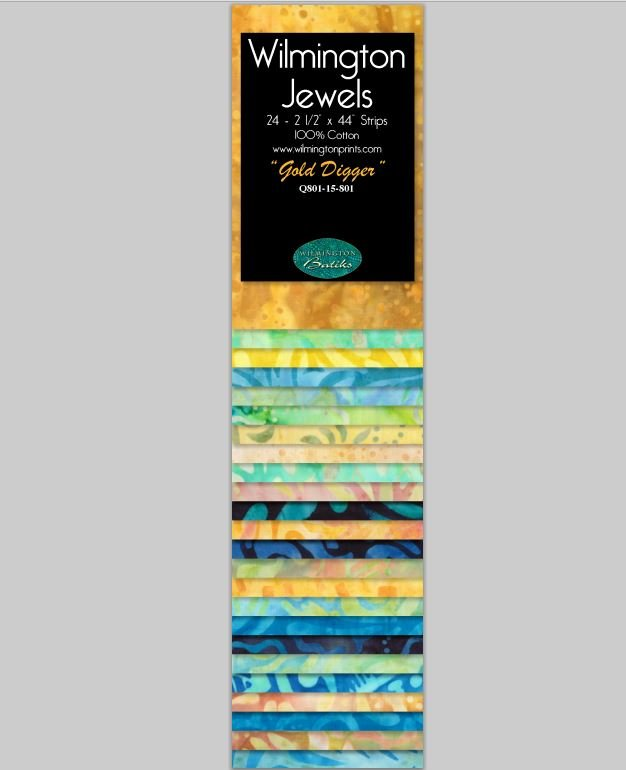 Q810-19-801 Jewels Batavian Batiks by Wilmington Prints 2.5 Strips Gold Digger