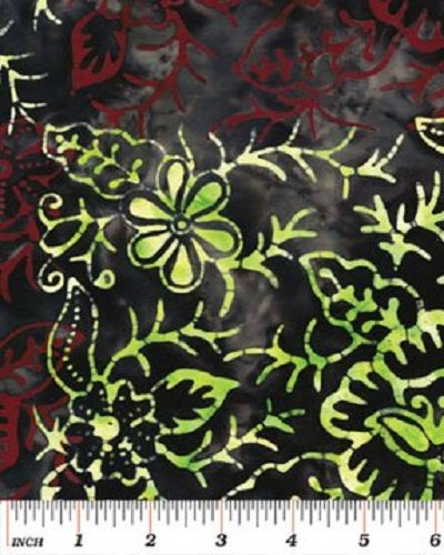 03689-12 Benartex Treasure Island Balis Batiks Floral Checkerboard Red-Lime