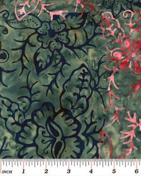 03689-25 Benartex Treasure Island Balis Batiks Floral Checkerboard  Pink-Blue  *50% Savings*  (ONE YARD MINIMUM CUT)