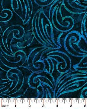 03693-55 Benartex Treasure Island Balis Batiks Deco Leaves  Navy *50% Savings*  (ONE YARD MINIMUM CUT)