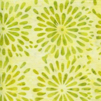 Island Batiks Round Petal Floral-Lemon Lime BE34-G1
